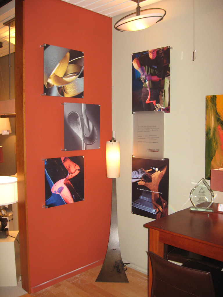 Design and Installed by Hubbardton Forge in Dallas TX.  Green Screen printed and supplied the mounting hardware.
