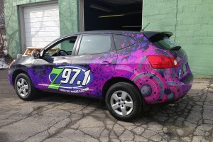 Full Car wrap for z97 of Rutland Vermont designed and installed by Green Screen Graphics