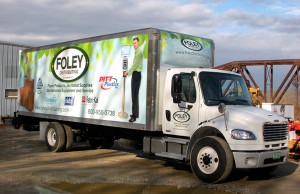 Box truck digitally printed 3M graphics wrap designed printed and installed by Green Screen Graphics of Rutland Vermont